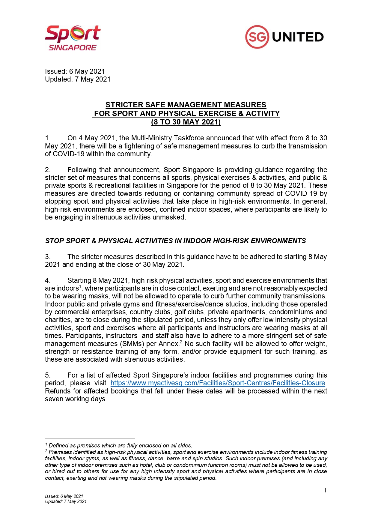 (Updated As Of 7 May 2021) Stricter Safe Management Measures For Sport And Physical Exercise and Activity (8 to 30 May)_pages-to-jpg-0001