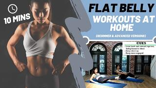 10 MINS FLAT BELLY EXERCISES (Abs + Core Workout at home) I Beginner and Advanced Versions Thumbnail