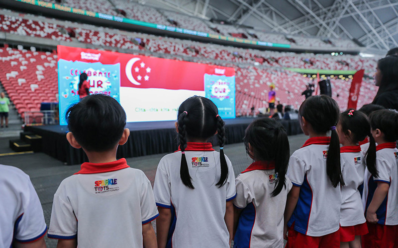 Pledge taking by preschool kids at GetActive! Singapore 2019 Finale