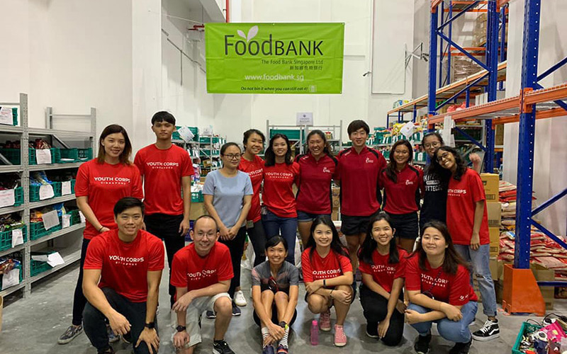 Team Singapore athletes helping out at Foodbank