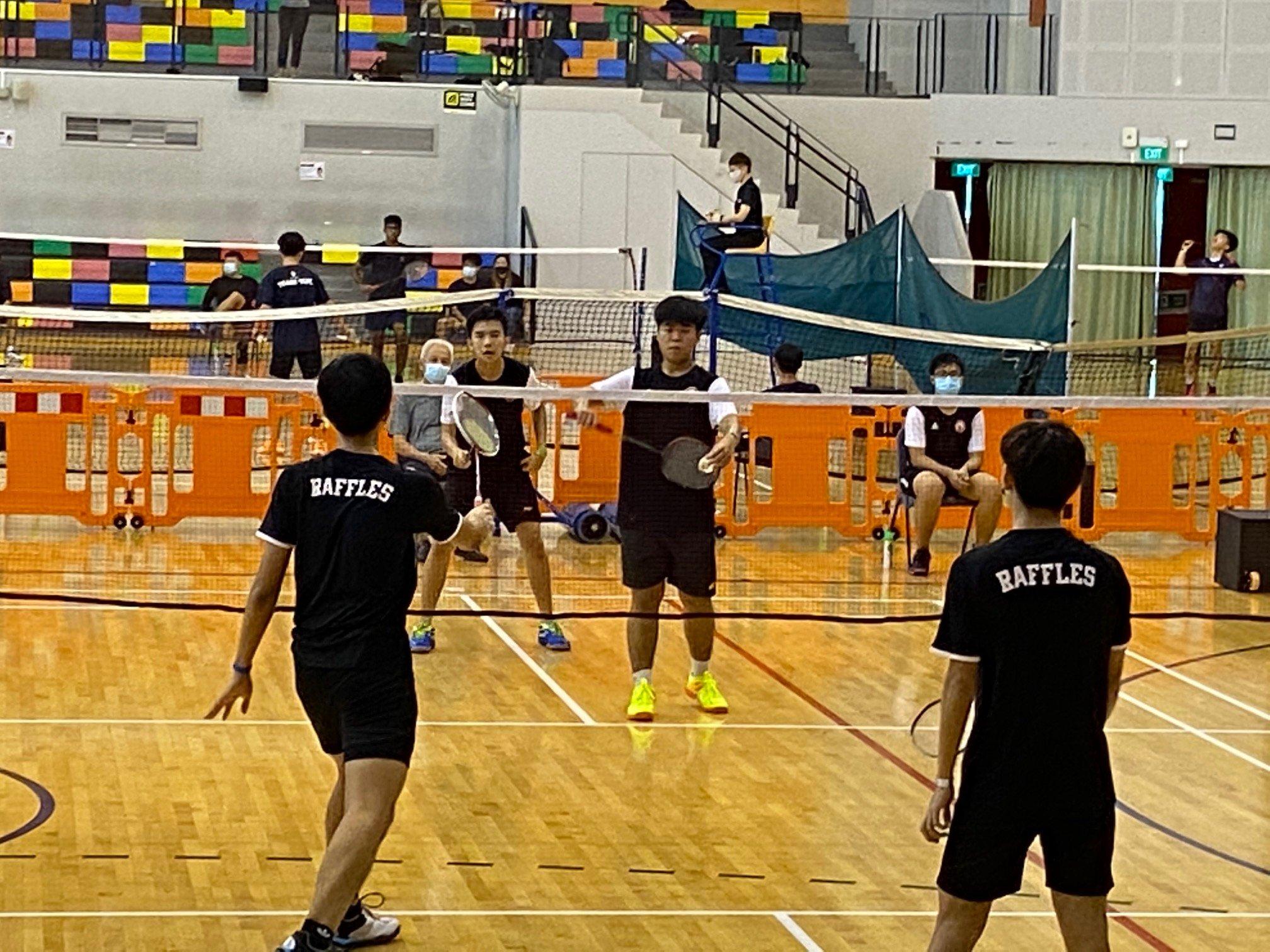 NSG A Div boys badminton - RI vs VJC first doubles 2