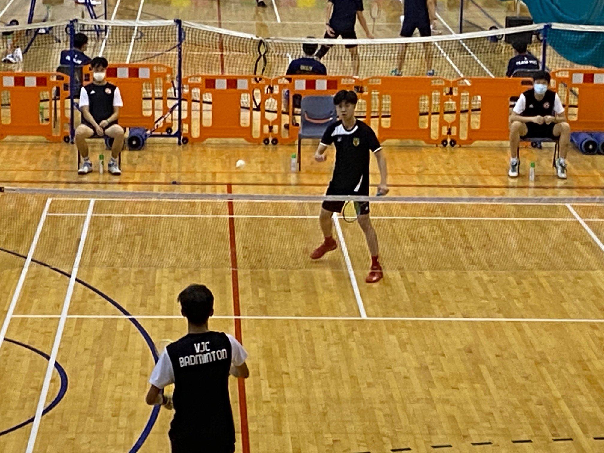 NSG A Div boys badminton - RI vs VJC first singles