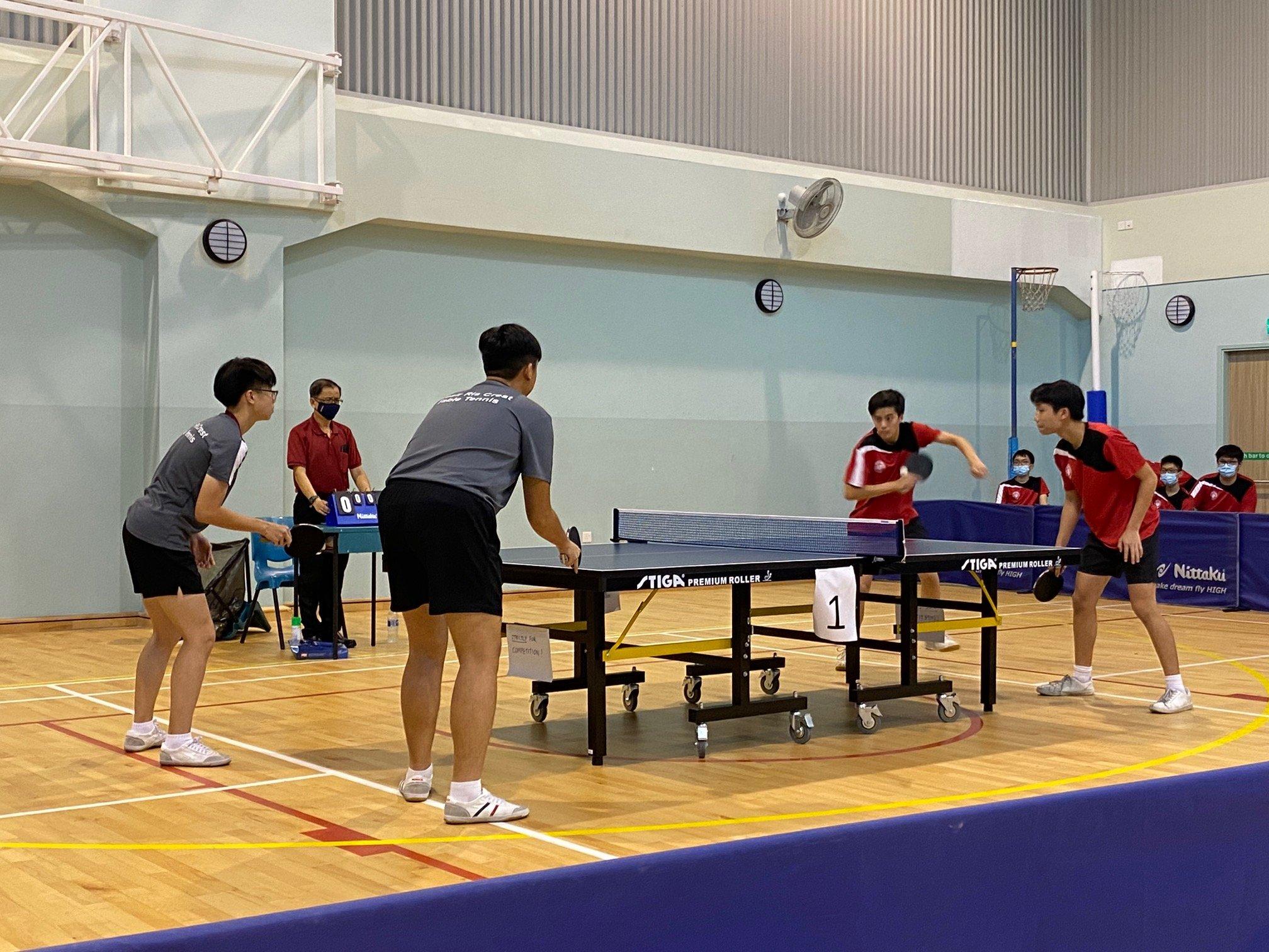 NSG B Div boys table tennis - Pasir Ris Crest (grey) vs Victoria School (red) 1st doubles