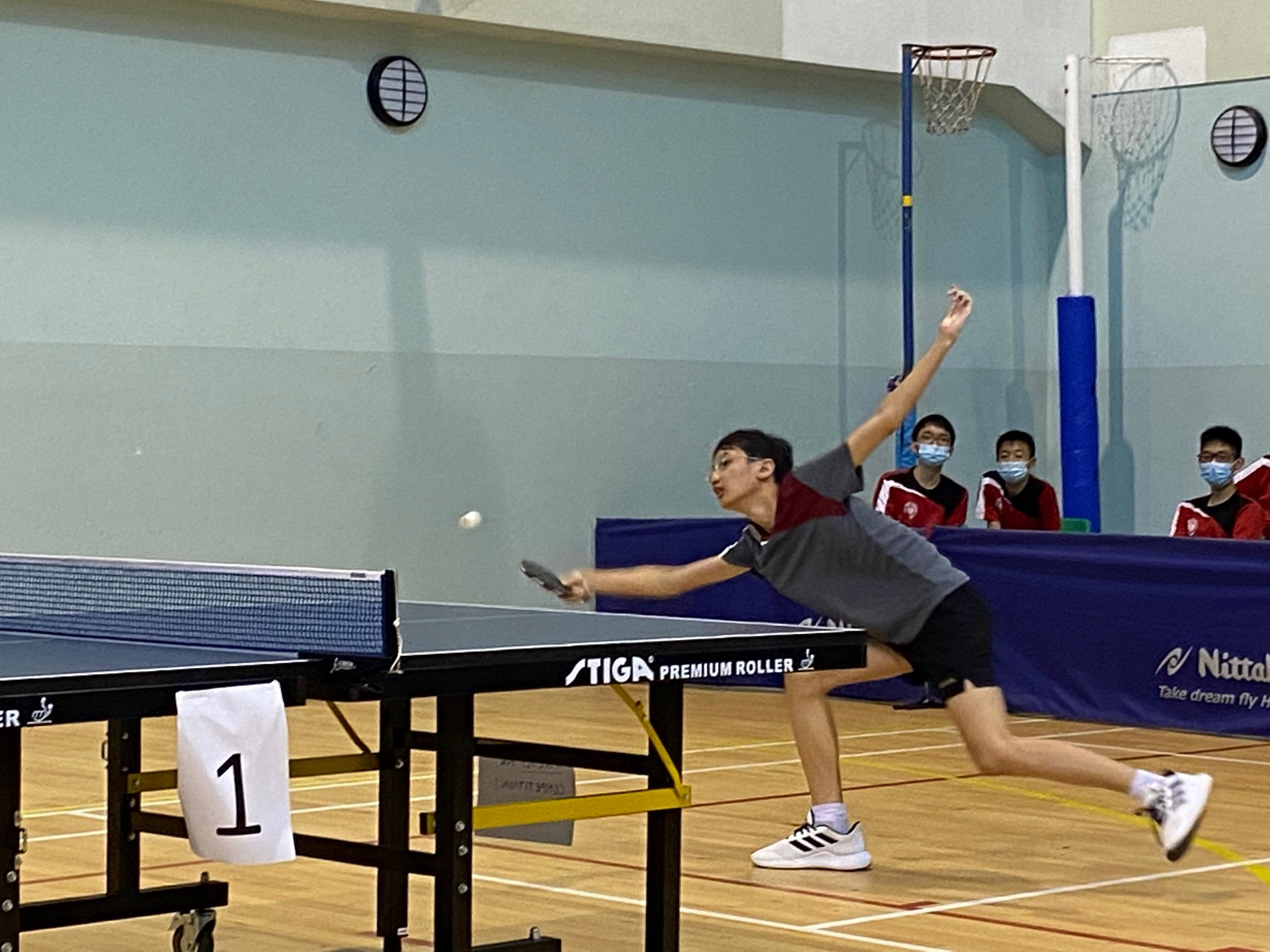 NSG B Div boys table tennis - Pasir Ris Crest 2nd singles player Stanley Leo