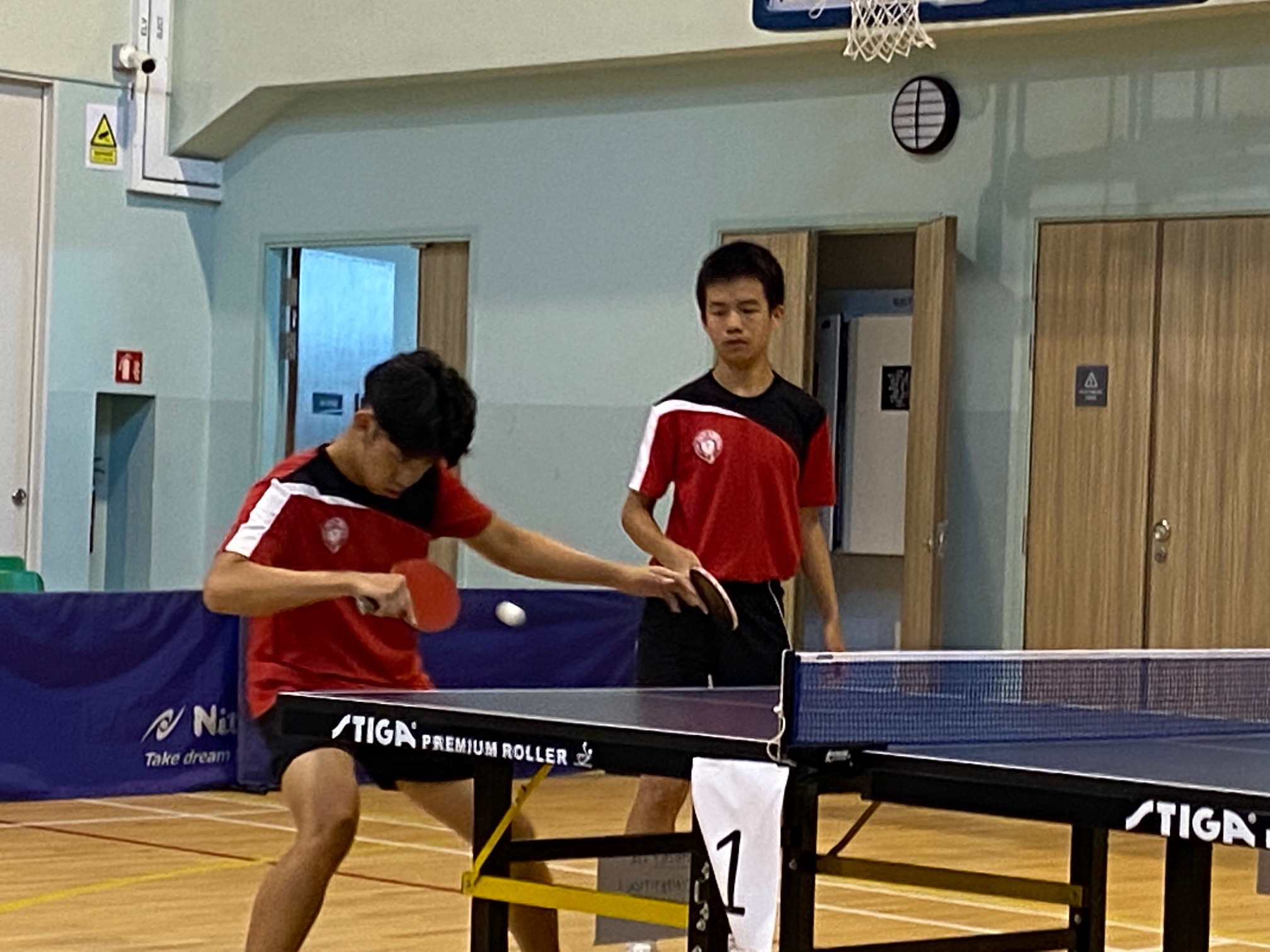 NSG B Div boys table tennis - Victoria School 2nd doubles players Jordan Pang and Reuben Yap