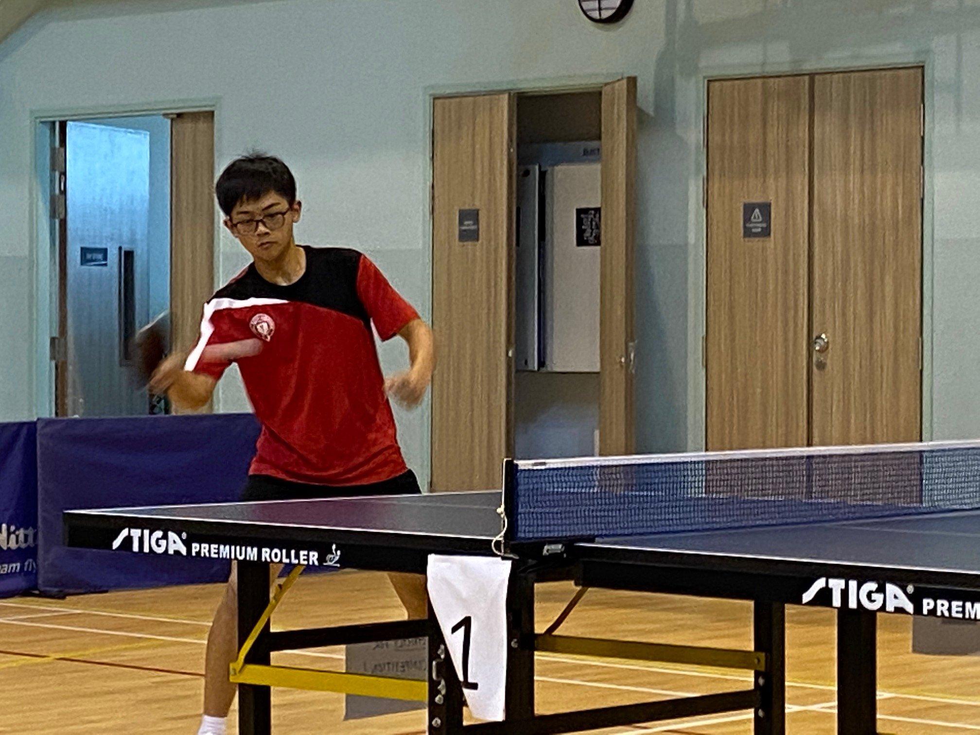 NSG B Div boys table tennis - Victoria School 2nd singles player Ng Kawei