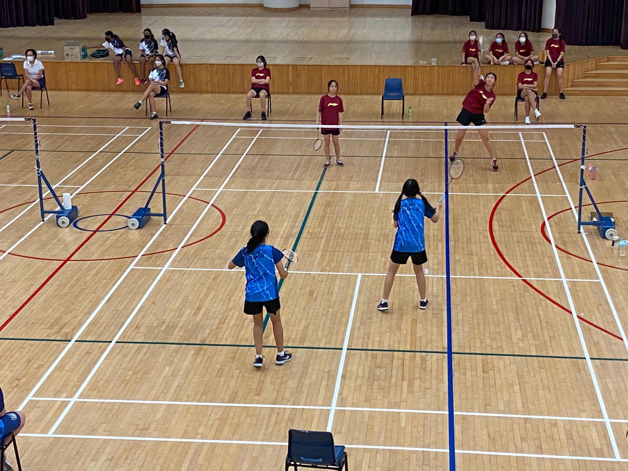 NSG B Div girls badminton - Compassvale (red) vs Woodlands (blue) first doubles