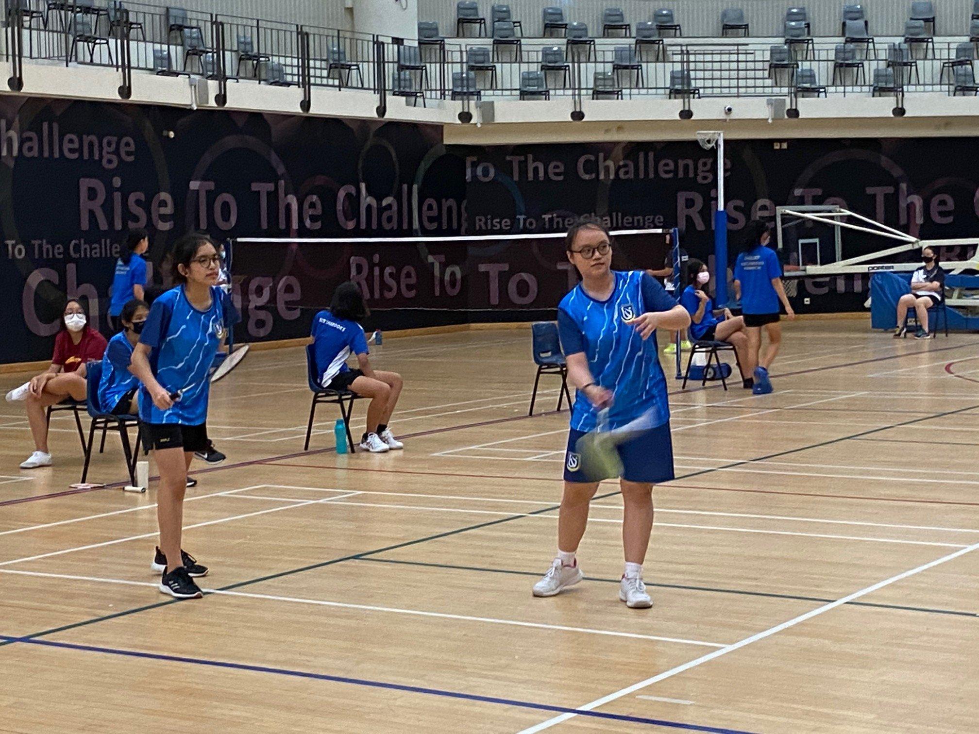 NSG B Div girls badminton - Woodlands (blue) second doubles