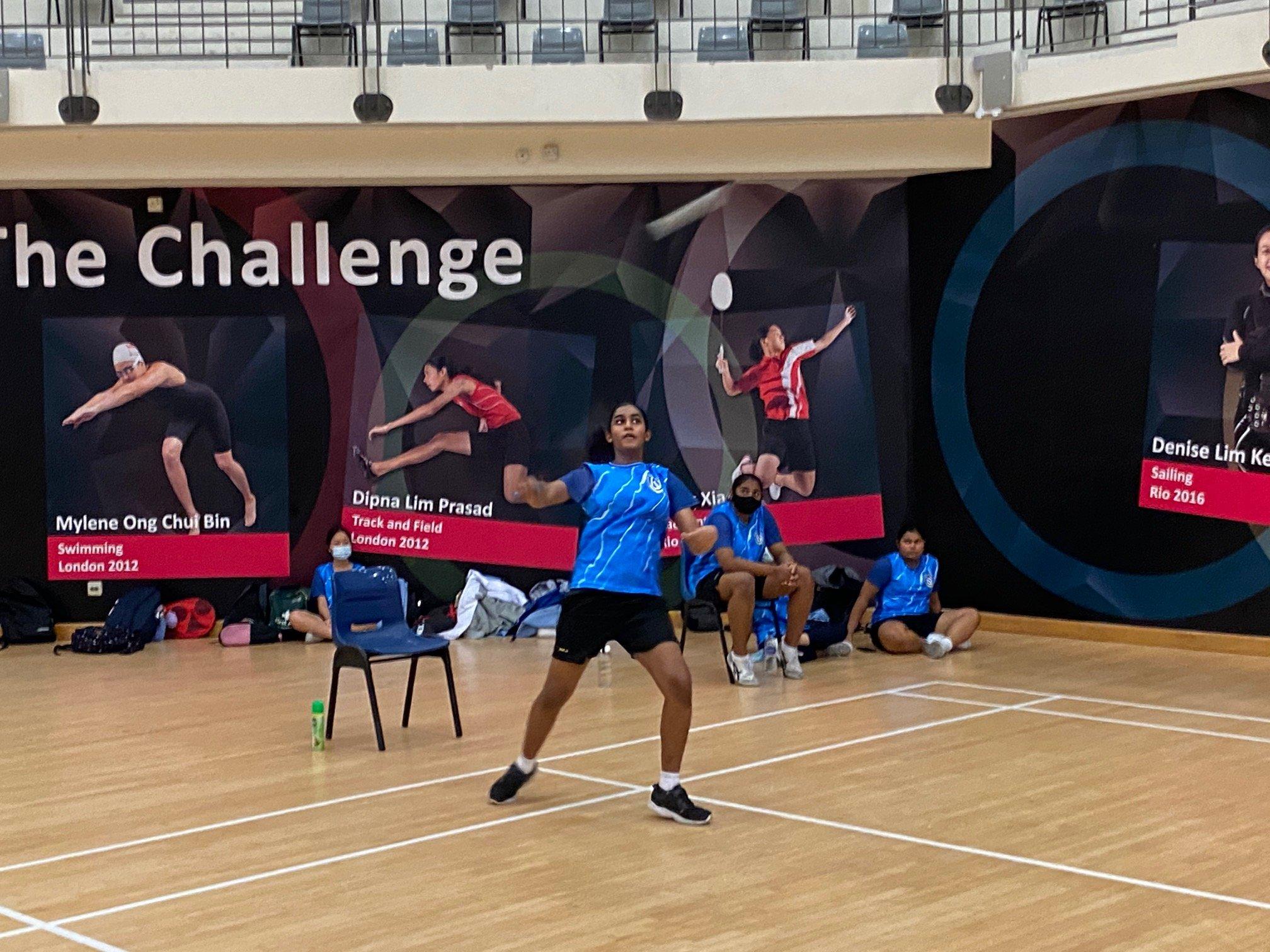 NSG B Div girls badminton - Woodlands (blue) second singles