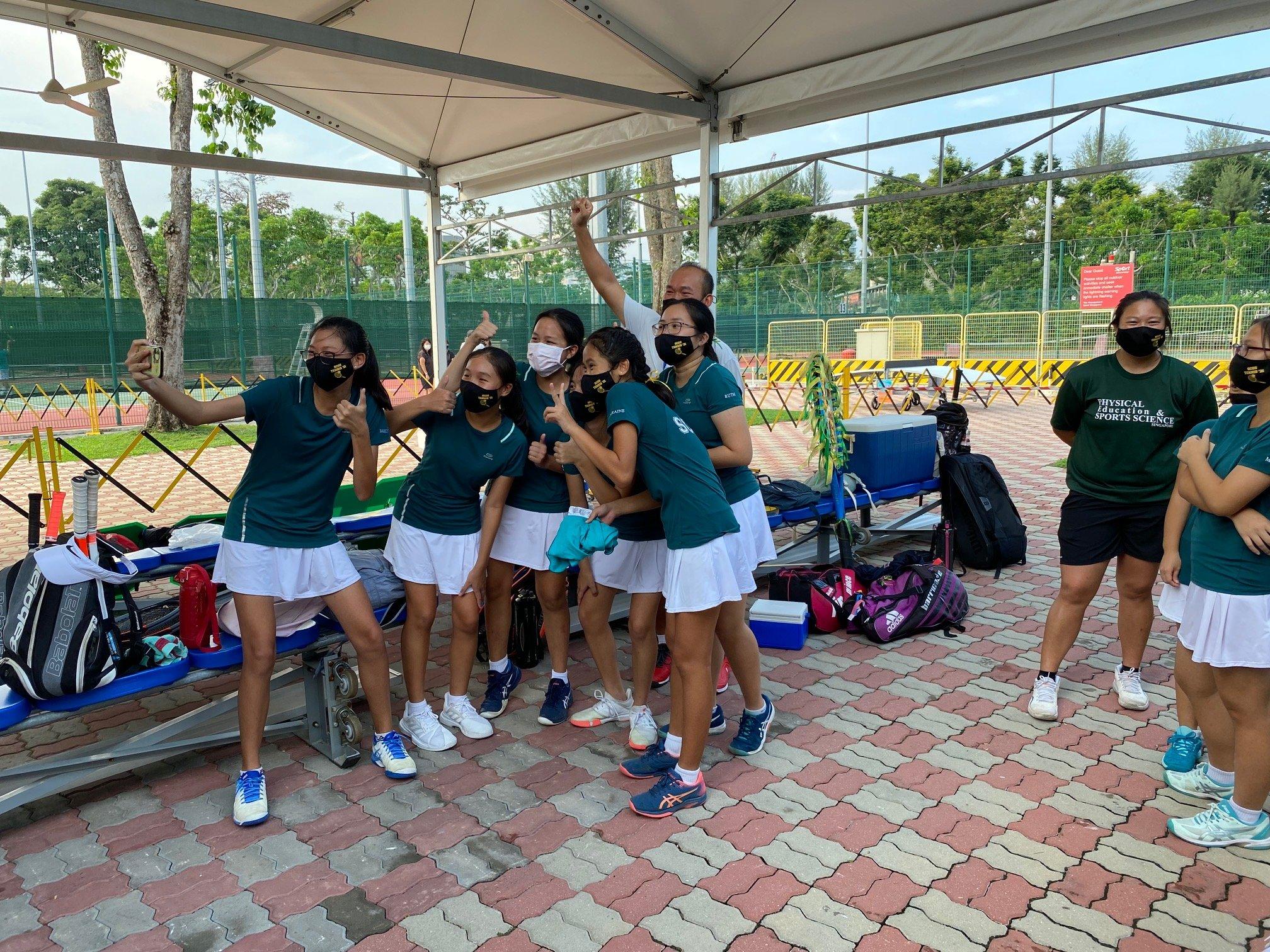 NSG B Div girls tennis final - SCGS celebrations