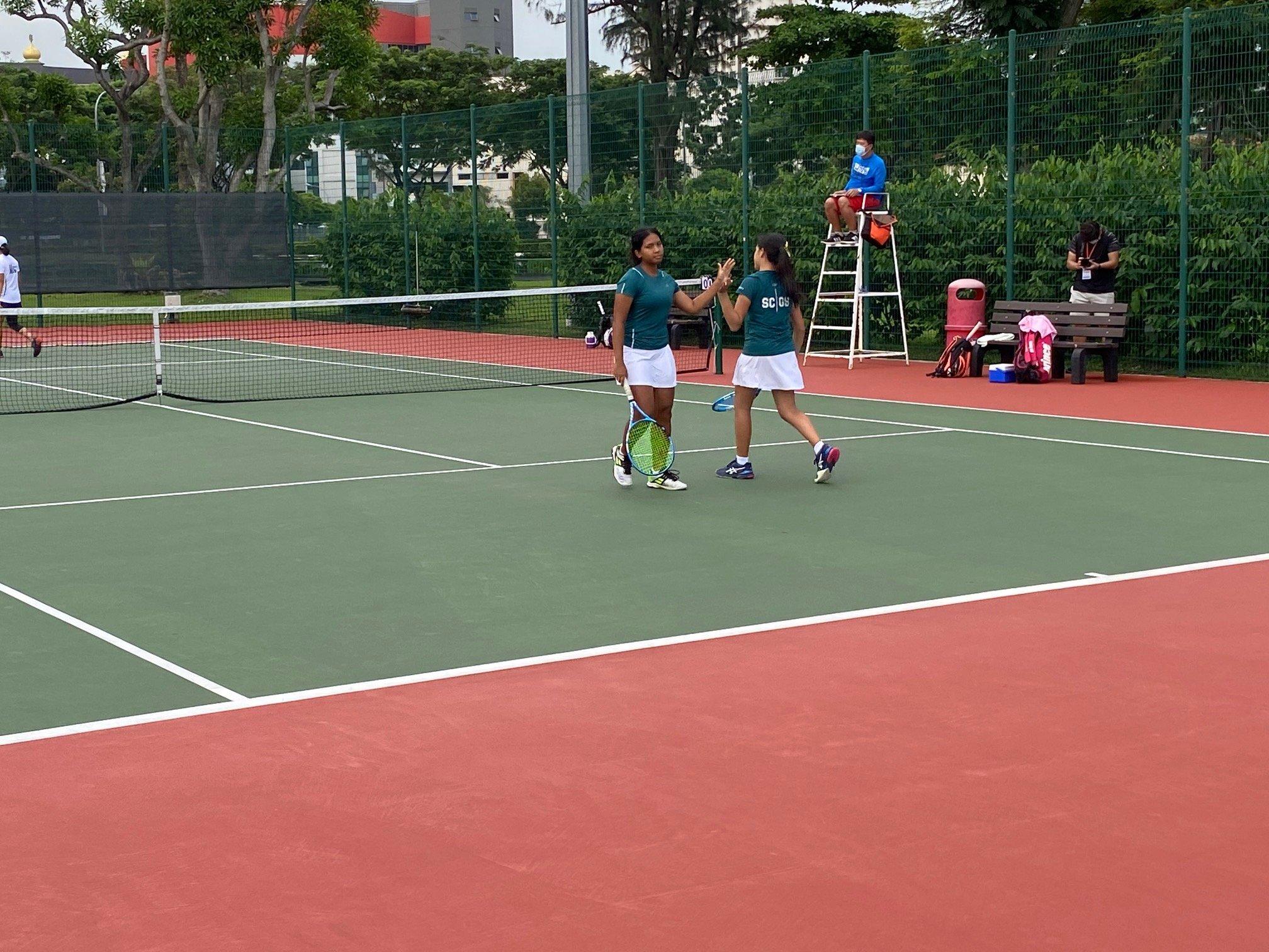 NSG B Div girls tennis final - SCGS second doubles pair
