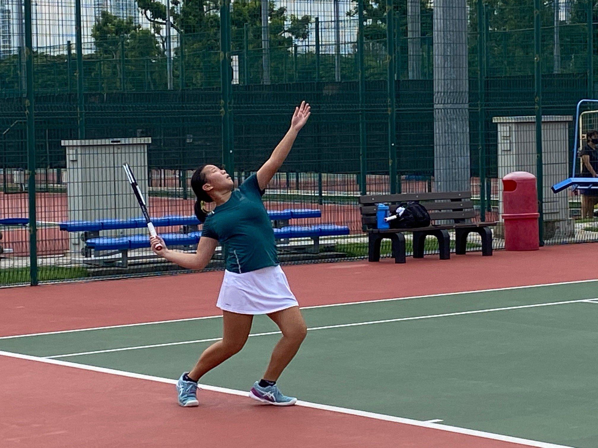 NSG B Div girls tennis final - SCGS second singles player Sarah Chan