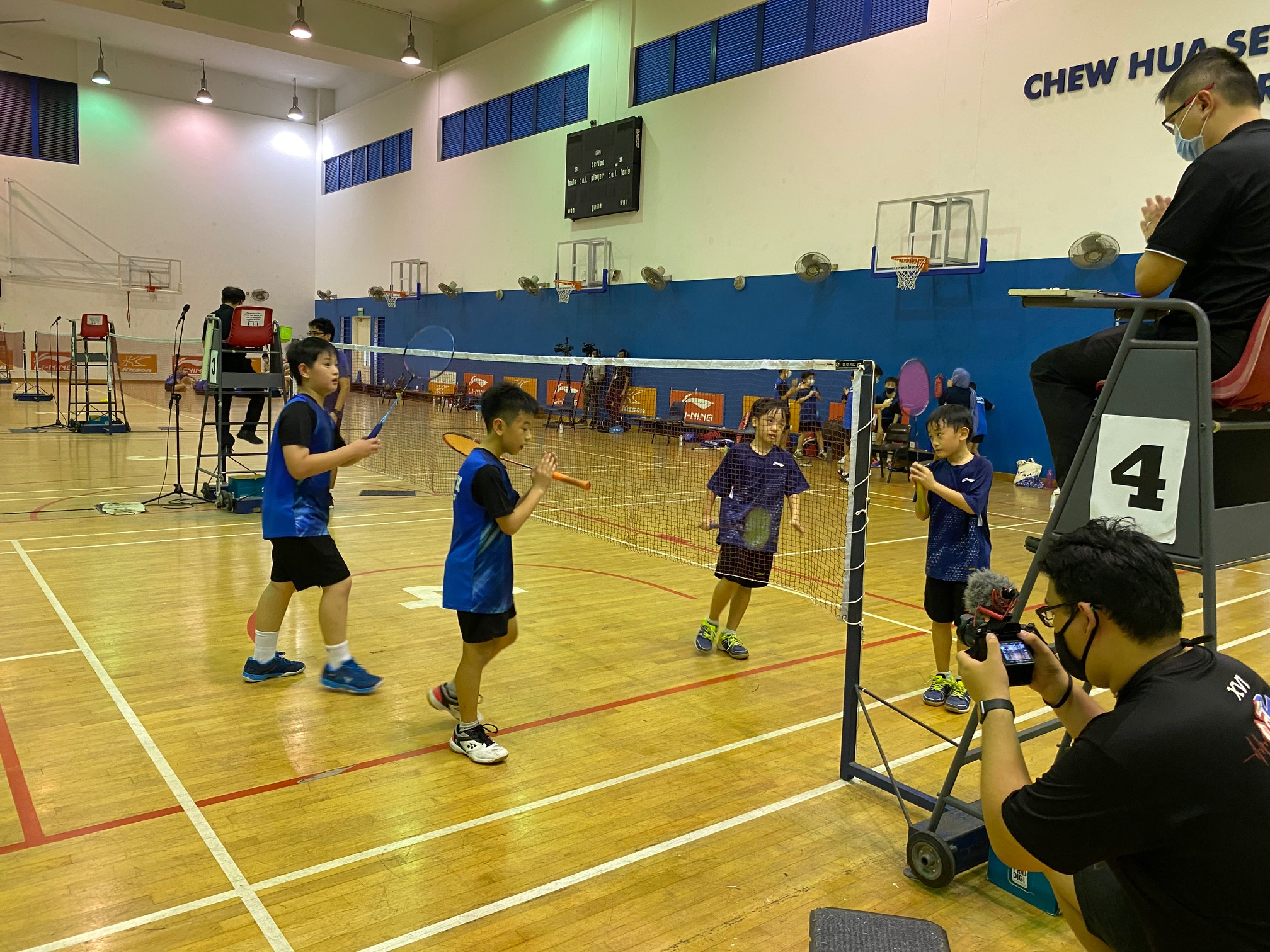 NSG Snr Div North Zone boys' badminton final - second doubles end of match