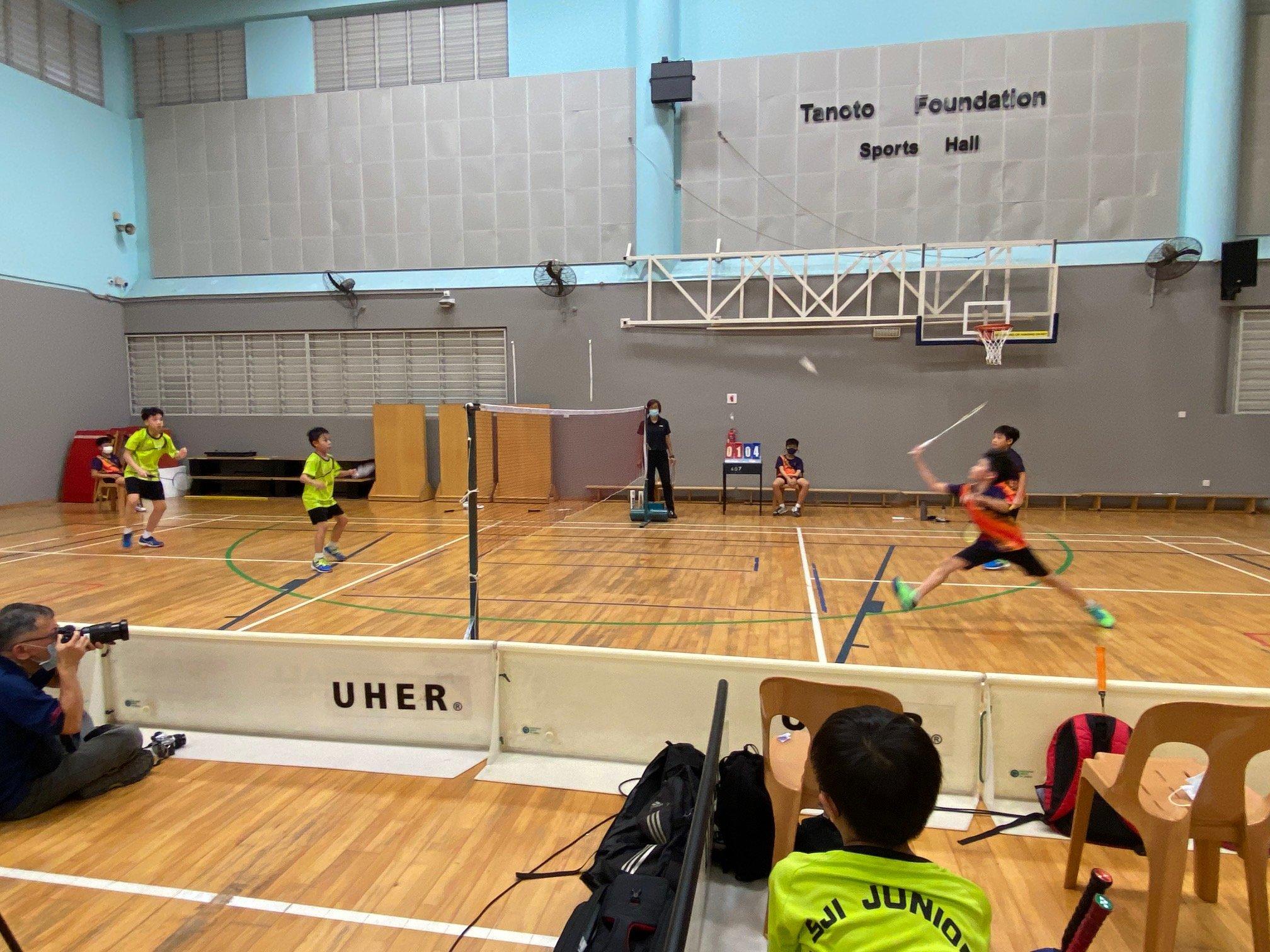 NSG Snr Div South Zone boys' badminton_ SJI Junior (green) vs ACS Primary (orange) 3