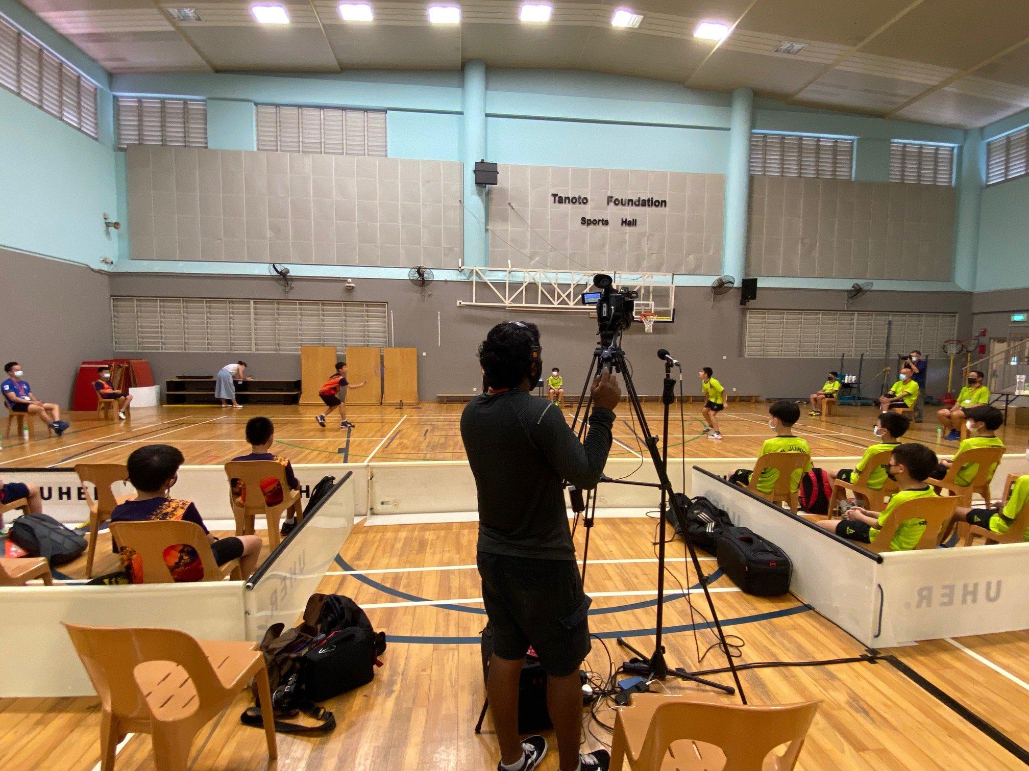 NSG Snr Div South Zone boys' badminton_ SJI Junior (green) vs ACS Primary (orange)