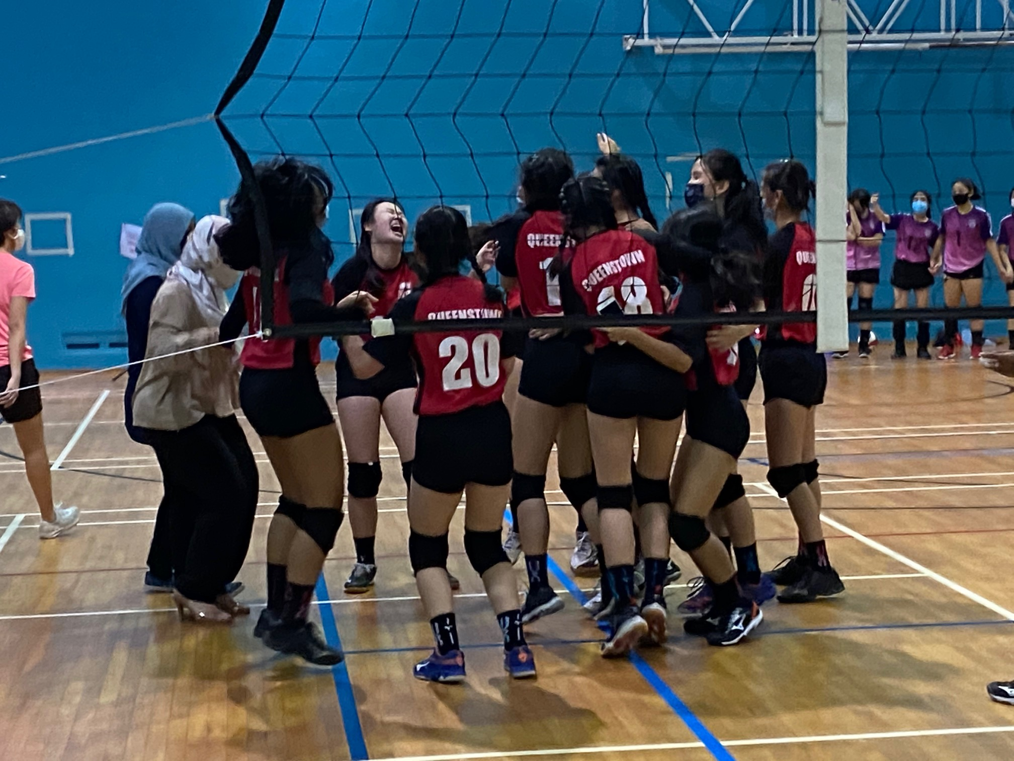 NSG South Zone B Div girls volleyball final - Queenstown (red) v Queensway (purple) 4