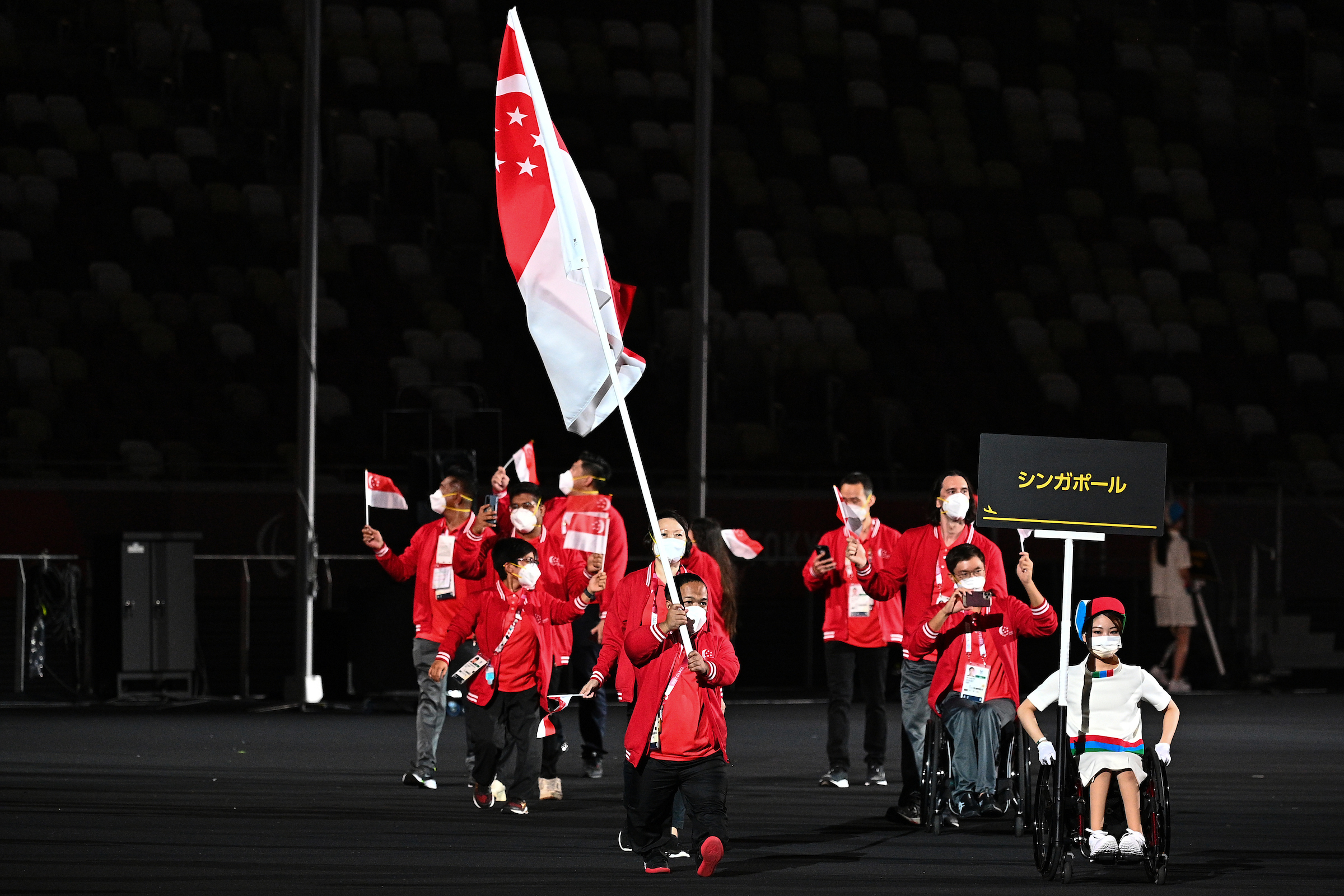 Singapore Flag flies high at Olympic Stadium, as Tokyo 2020 Paralympic Games declared open!