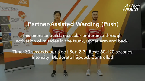 Active Health Exercises for Adults/Masters - Partner-Assisted Warding (Push) Thumbnail