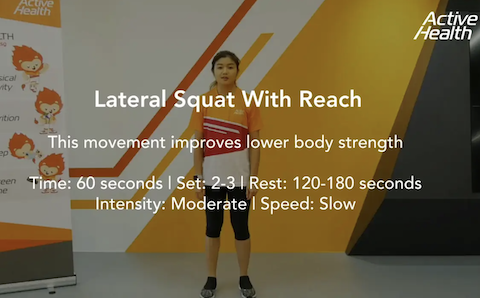 Active Health Exercises for Masters - Lateral Squat with Reach Thumbnail