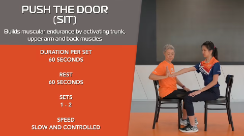 Simple Stretching for Seniors Ep 5 - Push The Door (Sit) Thumbnail
