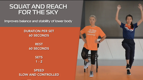 Simple Stretching for Seniors Ep 6 - Squat & Reach for the Sky Thumbnail